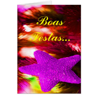 Boas Festas e um feliz Ano Novo Purple Star III Greeting Card