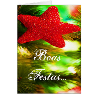 Boas Festas e um feliz Ano Novo Red Star Greeting Card