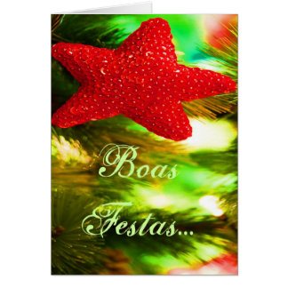 Boas Festas e um feliz Ano Novo Red Star I Greeting Card