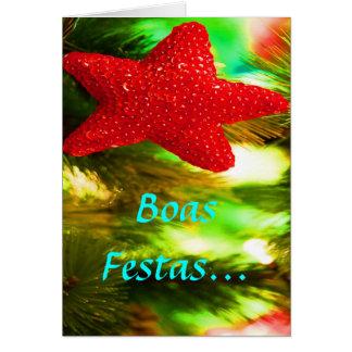 Boas Festas e um feliz Ano Novo Red Star II Greeting Card