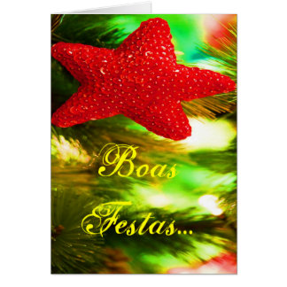 Boas Festas e um feliz Ano Novo Red Star III Greeting Card