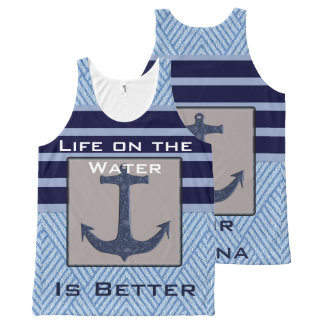 Boat Anchor design & Navy Blue Nautical Stripes