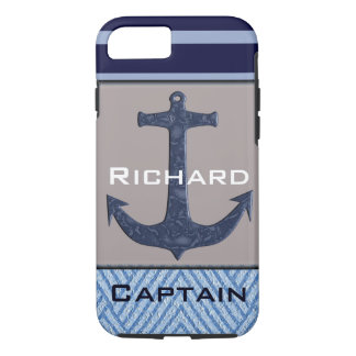 Boat Anchor design & Navy Blue Nautical Stripes iPhone 7 Case