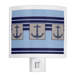 Boat Anchor design & Navy Blue Nautical Stripes Night Lights