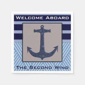 Boat Anchor design & Navy Blue Nautical Stripes Paper Napkin