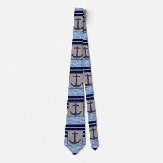 Boat Anchor design & Navy Blue Nautical Stripes Tie