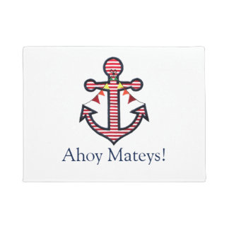 Boat Anchor & Red Stripes Ahoy Mateys Welcome Doormat
