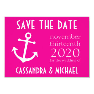 Boat Anchor Save The Date (Magenta Pink) Card