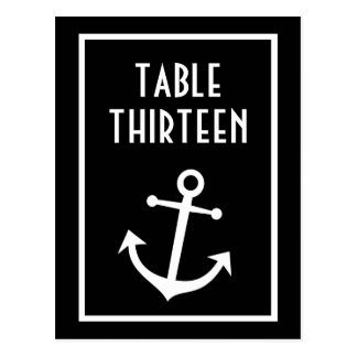 Boat Anchor Table Numbers Black White Post Cards