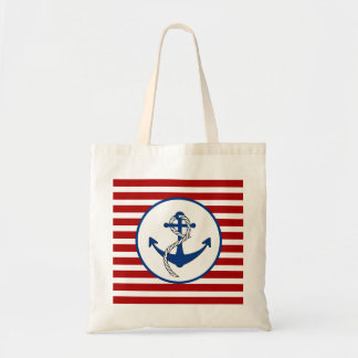 Boat anchor with red stripes budget tote bag
