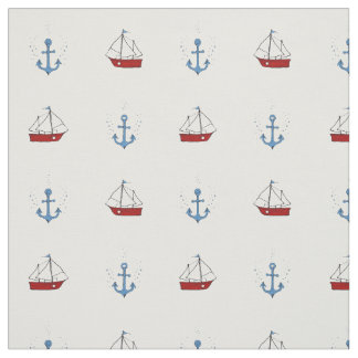 Boat and Anchor Print Fabric