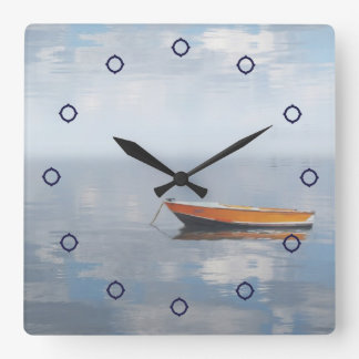 Boat and Reflected Peace Photo Wall Clock