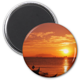 boat and sunset 2 inch round magnet