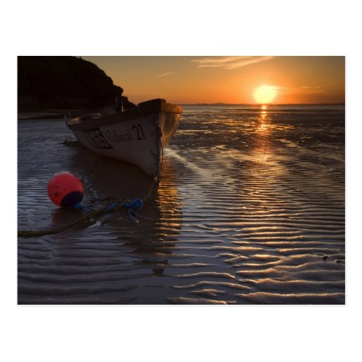 Boat and sunset postcards