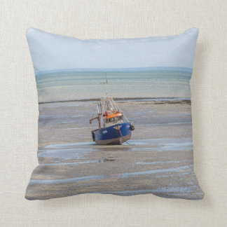 Boat at low tide throw cushion