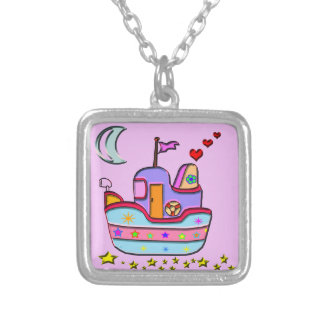 boat at night silver plated necklace
