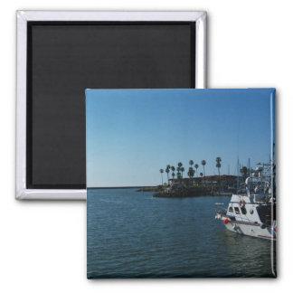 Boat at Oceanside Harbor -CA Square Magnet