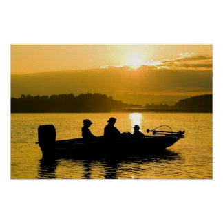 Boat at Sunrise Poster