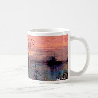 Boat At Sunset Basic White Mug