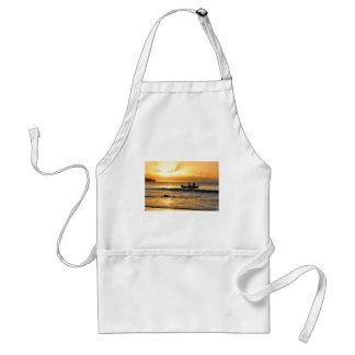 Boat at sunset standard apron