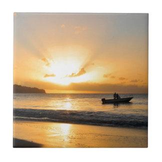 Boat at sunset tile