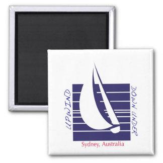 Boat Blue Square_UpDownSydney magnet
