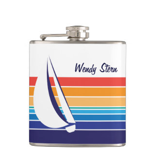 Boat Color Square_horizontal hues_personalized Hip Flask