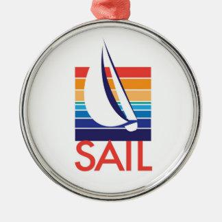 Boat Color Square_Sail necklace Silver-Colored Round Ornament