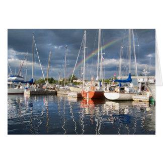 Boat Dock at Marina Photograph Card