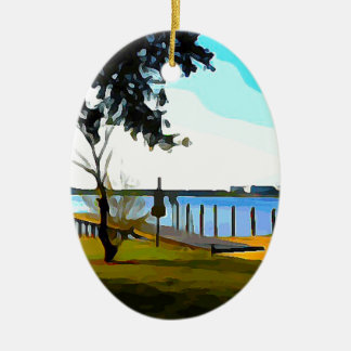 Boat Dock Lake Baldwin Ceramic Ornament