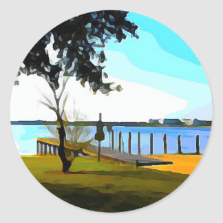 Boat Dock Lake Baldwin Classic Round Sticker