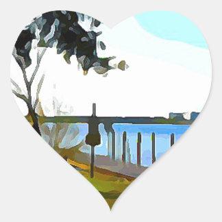 Boat Dock Lake Baldwin Heart Sticker