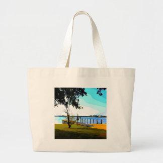 Boat Dock Lake Baldwin Large Tote Bag