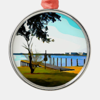 Boat Dock Lake Baldwin Metal Ornament