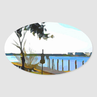 Boat Dock Lake Baldwin Oval Sticker