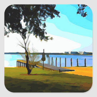 Boat Dock Lake Baldwin Square Sticker