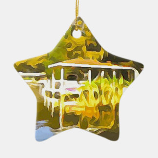 Boat Docks Lake Osceola Ceramic Ornament