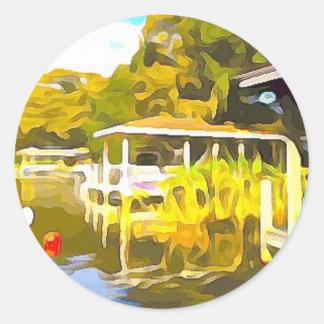 Boat Docks Lake Osceola Classic Round Sticker