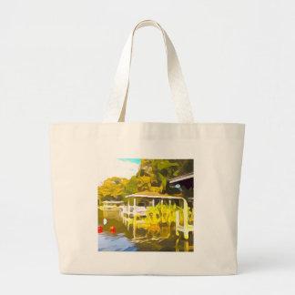 Boat Docks Lake Osceola Large Tote Bag