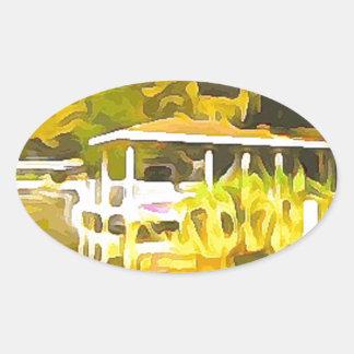 Boat Docks Lake Osceola Oval Sticker