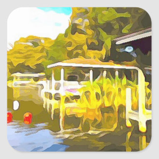 Boat Docks Lake Osceola Square Sticker