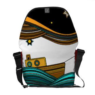 Boat fishing stars messenger bag