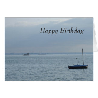 Boat & Harbour  Birthday Card