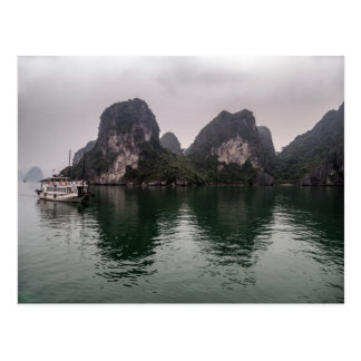 Boat in Misty Halong Bay Rock Islands, Vietnam Postcard