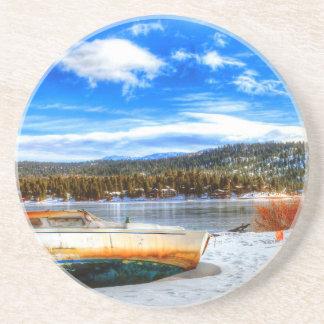 Boat in Snow at Big Bear Lake, California Coaster