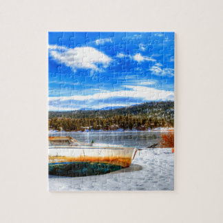 Boat in Snow at Big Bear Lake, California Jigsaw Puzzle