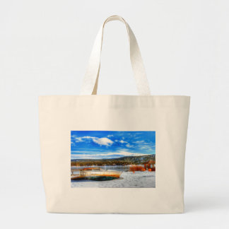 Boat in Snow at Big Bear Lake, California Large Tote Bag