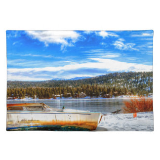 Boat in Snow at Big Bear Lake, California Placemat
