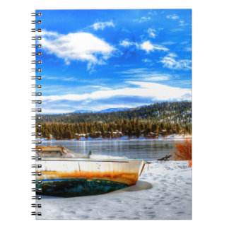 Boat in Snow at Big Bear Lake, California Spiral Notebook