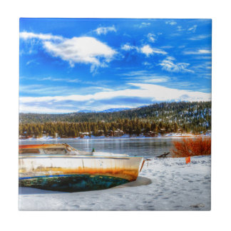 Boat in Snow at Big Bear Lake, California Tile